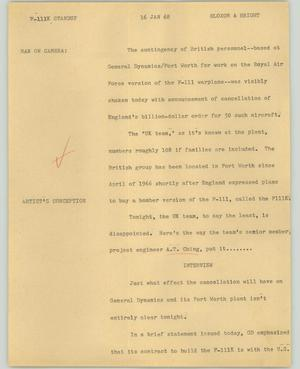 Primary view of object titled '[News Script: F-111K standup]'.