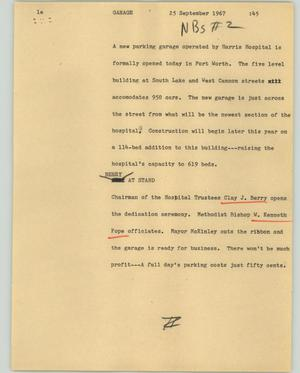 Primary view of object titled '[News Script: Garage]'.