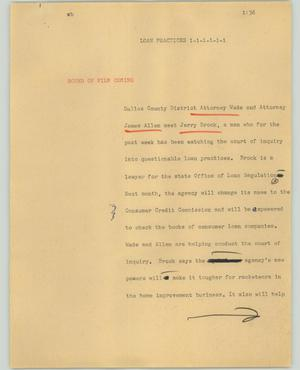 Primary view of object titled '[News Script: Loan practices]'.
