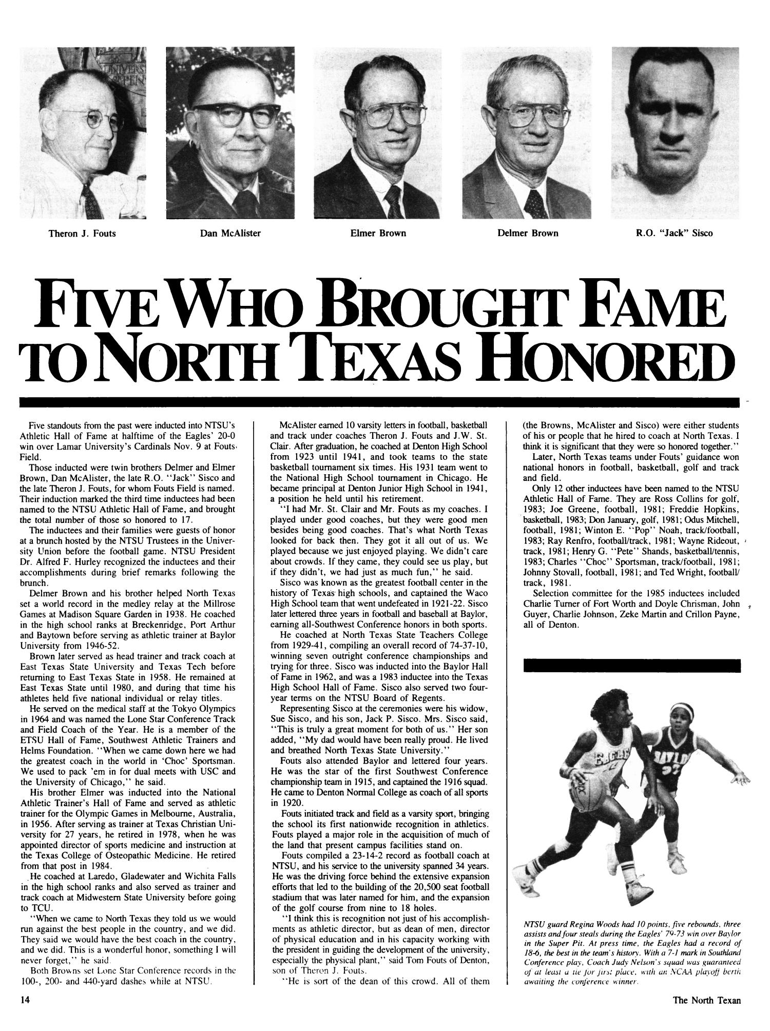 The North Texan, Volume 36, Number 1, Spring 1986                                                                                                      14