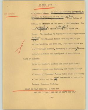 Primary view of object titled '[News Script: Ex POWs]'.