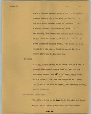 Primary view of object titled '[News Script: Libraries]'.