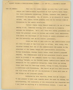 Primary view of object titled '[News Script: County judges and commissioners standup]'.