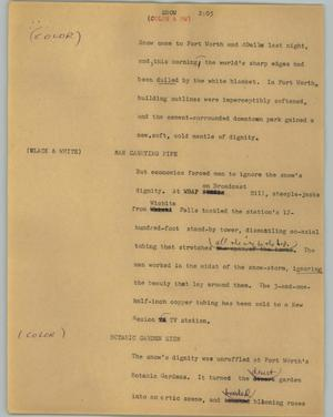 Primary view of object titled '[News Script: Snow]'.
