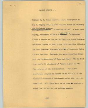 Primary view of object titled '[News Script: Dallas lights]'.