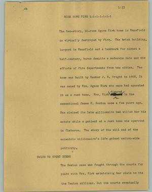 Primary view of object titled '[News Script: Kirk home fire]'.