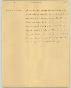 Primary view of object titled '[News Script: Ft Worth council]'.