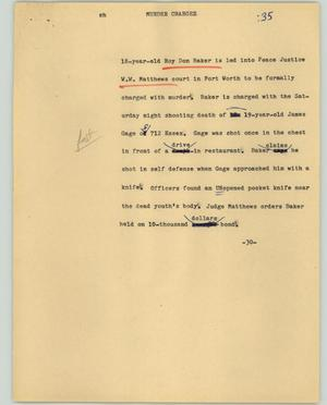 Primary view of object titled '[News Script: Murder charges]'.