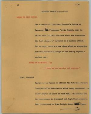 Primary view of object titled '[News Script: Defense awards]'.