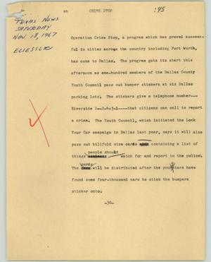 Primary view of object titled '[News Script: Crime shop]'.