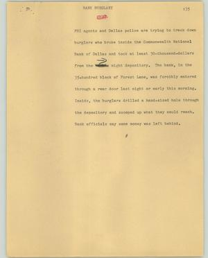 Primary view of object titled '[News Script: Bank burglary]'.