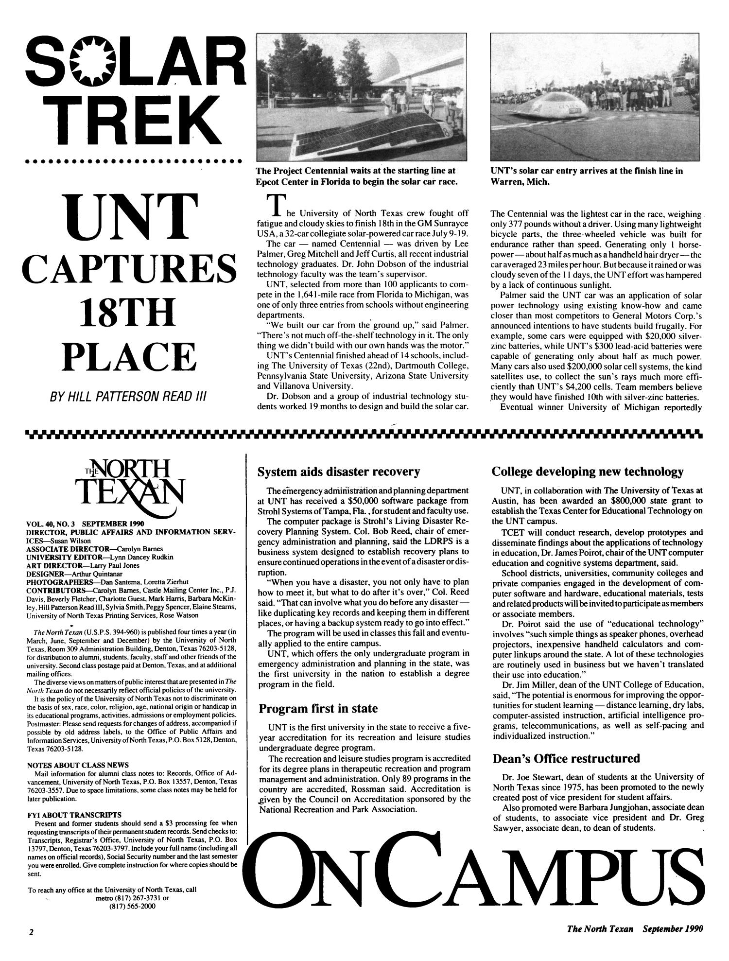 The North Texan, Volume 40, Number 3, September 1990                                                                                                      2