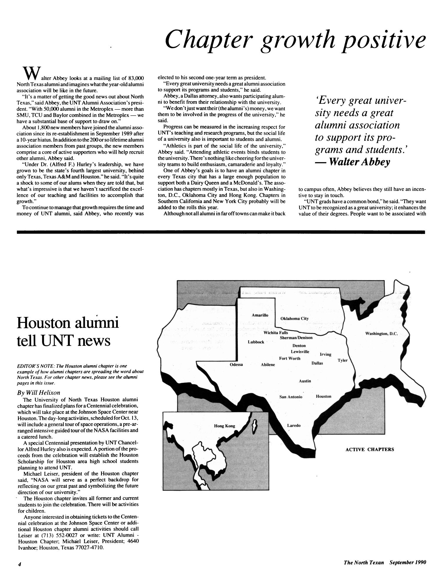 The North Texan, Volume 40, Number 3, September 1990                                                                                                      4
