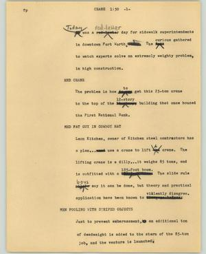 Primary view of object titled '[News Script: Crane]'.