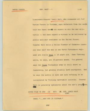 Primary view of object titled '[News Script: Gen. Walt]'.