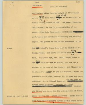Primary view of object titled '[News Script: Hoss]'.