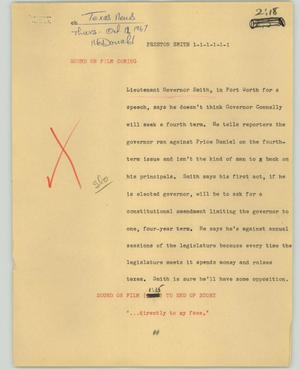 Primary view of object titled '[News Script: Preston Smith]'.