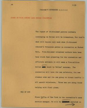 Primary view of object titled '[News Script: Jehova's Witnesses]'.