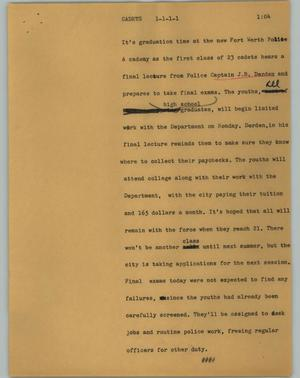 Primary view of object titled '[News Script: Cadets]'.