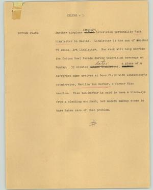 Primary view of object titled '[News Script: Celebs]'.