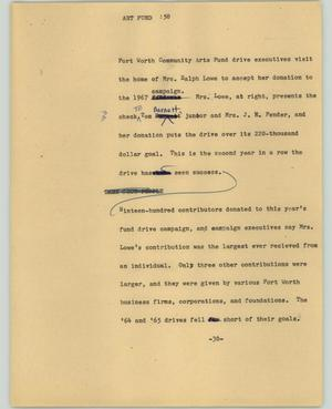 Primary view of object titled '[News Script: Art fund]'.
