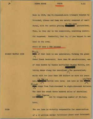 Primary view of object titled '[News Script: Cedar creek]'.