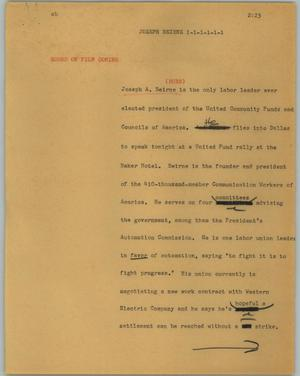 Primary view of object titled '[News Script: Joseph Beirne]'.