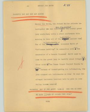 Primary view of object titled '[News Script: Smokey Joe Smith]'.