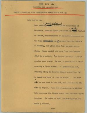 Primary view of object titled '[News Script: Horn]'.