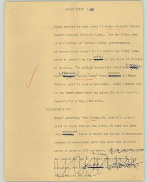 Primary view of object titled '[News Script: Evans trial]'.