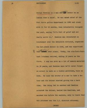 Primary view of object titled '[News Script: Retirement]'.