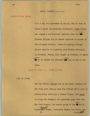 Primary view of object titled '[News Script: Nobis, Cowboys]'.
