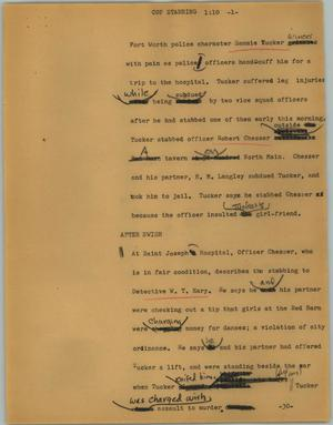 Primary view of object titled '[News Script: Cop stabbing]'.