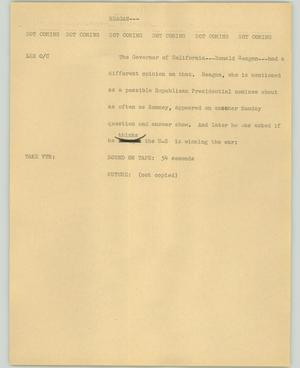 Primary view of object titled '[News Script: Reagan]'.