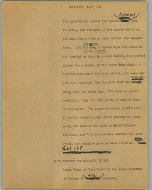 Primary view of object titled '[News Script: Fashions]'.