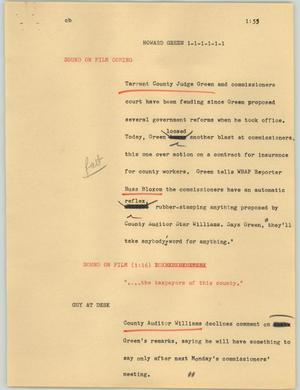 Primary view of object titled '[News Script: Howard Green]'.