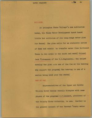 Primary view of object titled '[News Script: Water hearing]'.