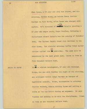 Primary view of object titled '[News Script: Bus shooting]'.