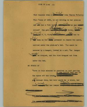 Primary view of object titled '[News Script: Pick up]'.