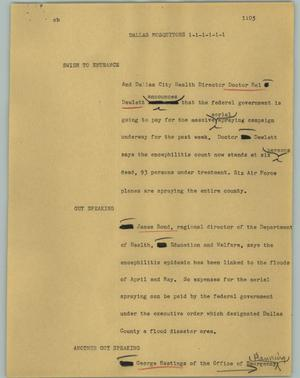 Primary view of object titled '[News Script: Dallas mosquitoes]'.