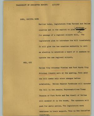 Primary view of object titled '[News Script: Transcript of Schieffer report]'.