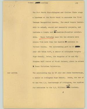 Primary view of object titled '[News Script: Teeny boppers]'.