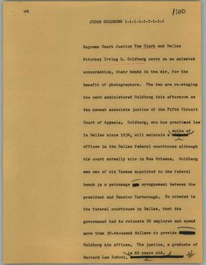 Primary view of object titled '[News Script: Judge Goldberg]'.