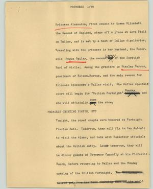 Primary view of object titled '[News Script: Princess]'.