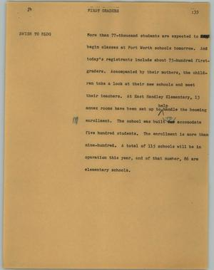 Primary view of object titled '[News Script: First graders]'.