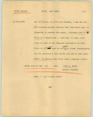 Primary view of object titled '[News Script: Trice]'.