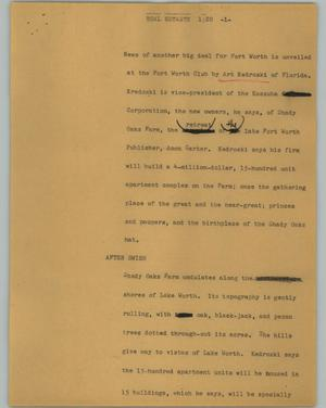 Primary view of object titled '[News Script: Real estate]'.