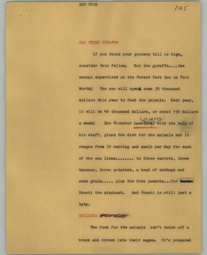 Primary view of object titled '[News Script: Zoo food]'.