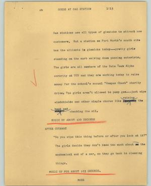 Primary view of object titled '[News Script: Coeds at gas station]'.