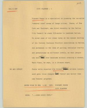 Primary view of object titled '[News Script: City planner]'.